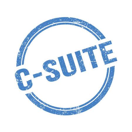 C-SUITE text written on blue grungy vintage round stamp.