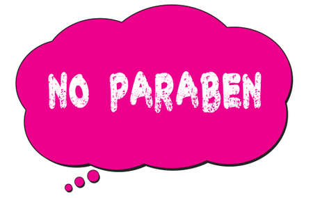 NO  PARABEN text written on a pink thought cloud bubble. 版權商用圖片