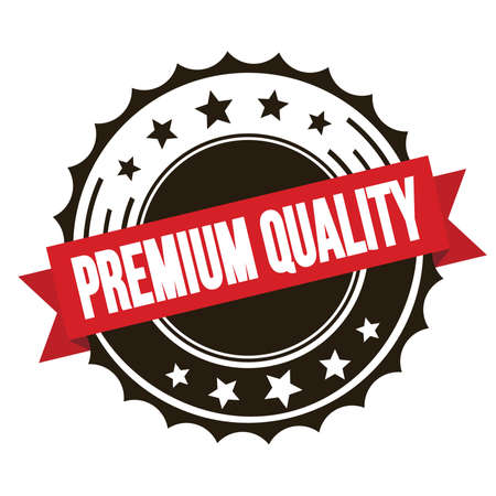 PREMIUM QUALITY text on red brown ribbon badge stamp.