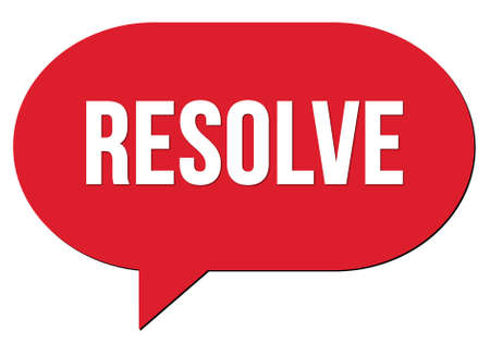 RESOLVE text written in a red speech bubble stamp
