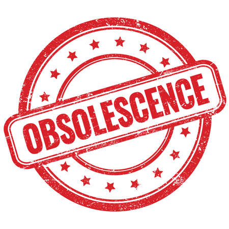 OBSOLESCENCE text on red vintage grungy round rubber stamp.
