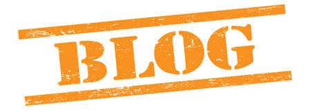 BLOG text on orange grungy vintage rubber stamp. 스톡 콘텐츠