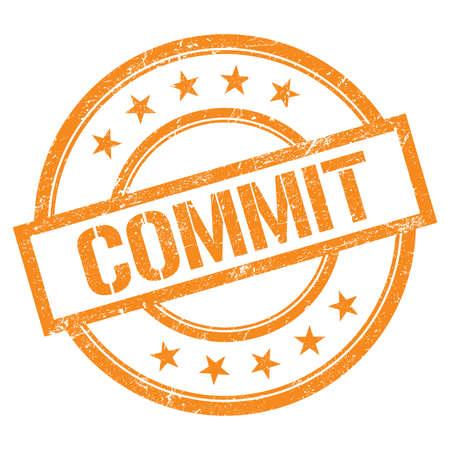 COMMIT text written on orange round vintage rubber stamp. Standard-Bild