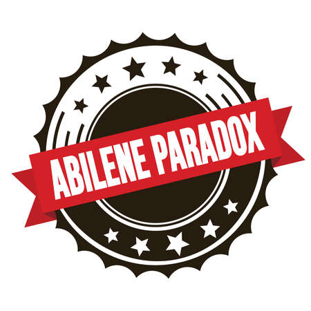 ABILENE PARADOX text on red brown ribbon badge stamp.