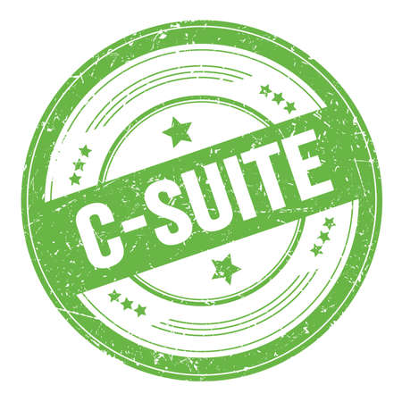 C-SUITE text on green round grungy texture stamp.