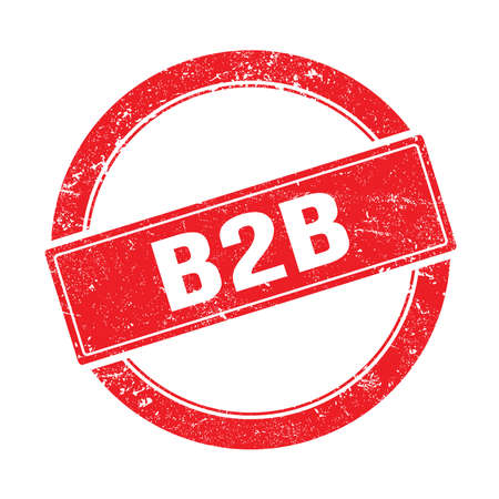 B2B text on red grungy round vintage stamp. 스톡 콘텐츠