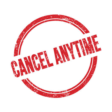 CANCEL ANYTIME text written on red grungy vintage round stamp. 스톡 콘텐츠