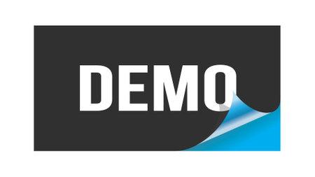 DEMO text written on black blue sticker stamp. 스톡 콘텐츠