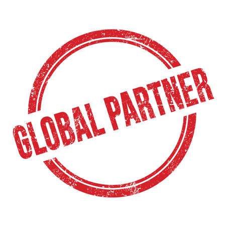 GLOBAL PARTNER text written on red grungy vintage round stamp.