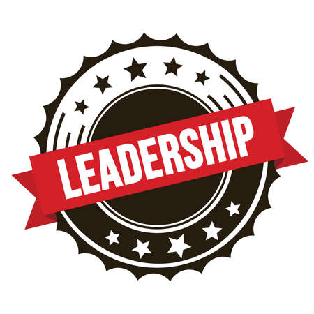 LEADERSHIP text on red brown ribbon badge stamp.