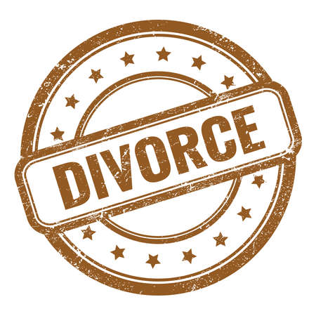 DIVORCE text on brown grungy vintage round rubber stamp.
