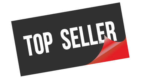 TOP  SELLER text written on black red sticker stamp. 스톡 콘텐츠
