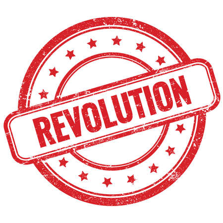 REVOLUTION text on red vintage grungy round rubber stamp.