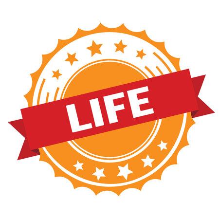 LIFE text on red orange ribbon badge stamp. Standard-Bild