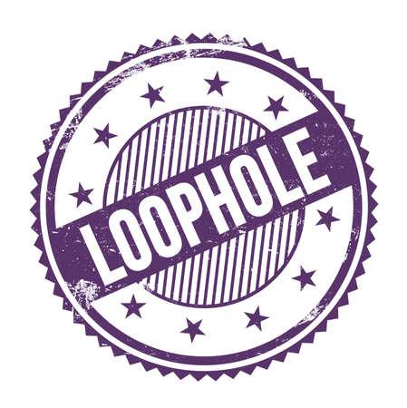 LOOPHOLE text written on purple indigo grungy zig zag borders round stamp.