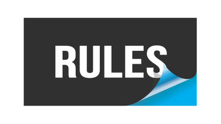 RULES text written on black blue sticker stamp.