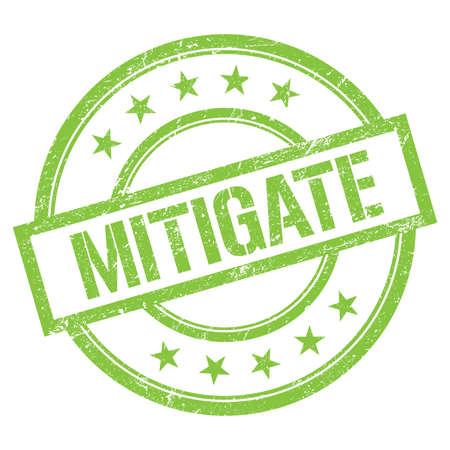 MITIGATE text written on green round vintage rubber stamp. Standard-Bild
