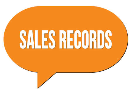 SALES RECORDS text written in an orange speech bubble stamp