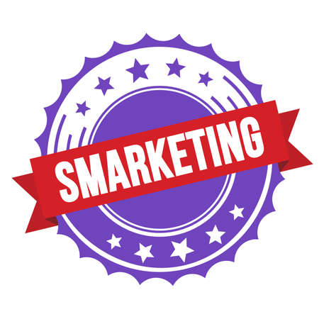SMARKETING text on red violet ribbon badge stamp. Standard-Bild