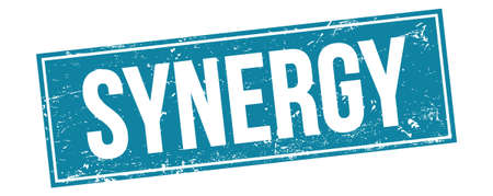 SYNERGY text on blue grungy rectangle stamp sign.