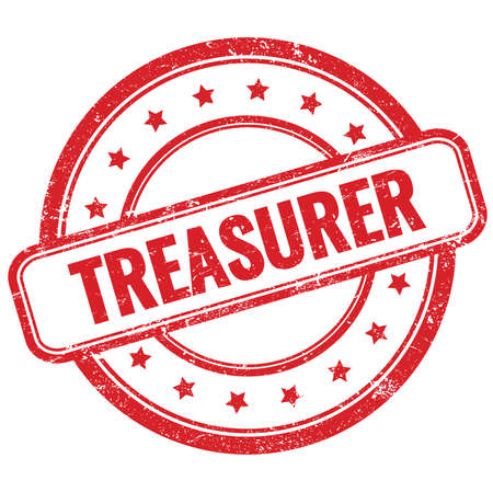 TREASURER text on red vintage grungy round rubber stamp.