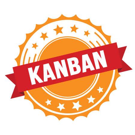 KANBAN text on red orange ribbon badge stamp.