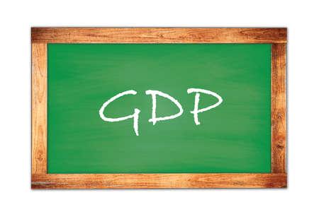 GDP text written on green wooden frame school blackboard. Stock Photo