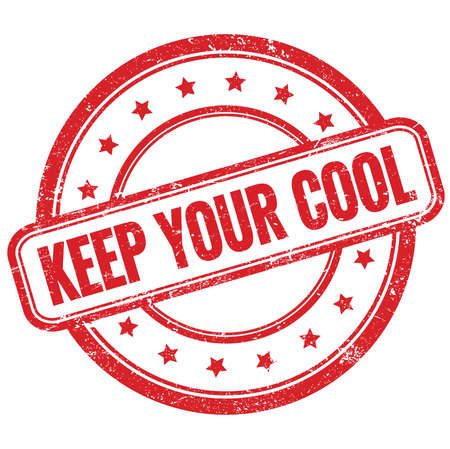 KEEP YOUR COOL text on red vintage grungy round rubber stamp.