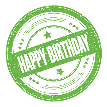 HAPPY BIRTHDAY text on green round grungy texture stamp. Stock Photo