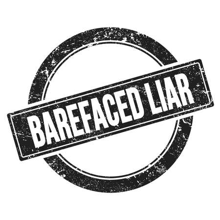 BAREFACED LIAR text on black grungy round vintage stamp.