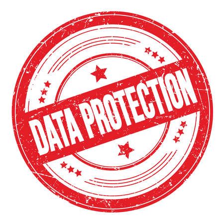 DATA PROTECTION text on red round grungy texture stamp. Stock Photo