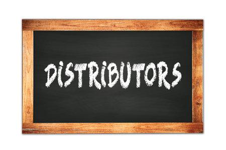 DISTRIBUTORS text written on black wooden frame school blackboard.