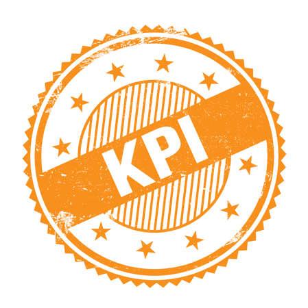 KPI text written on orange grungy zig zag borders round stamp. Stock Photo