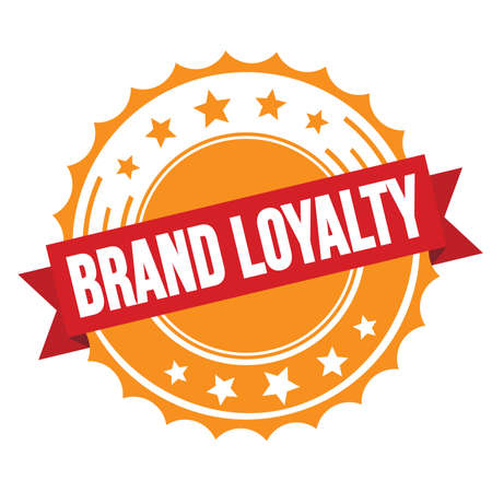 BRAND LOYALTY text on red orange ribbon badge stamp. Stock Photo