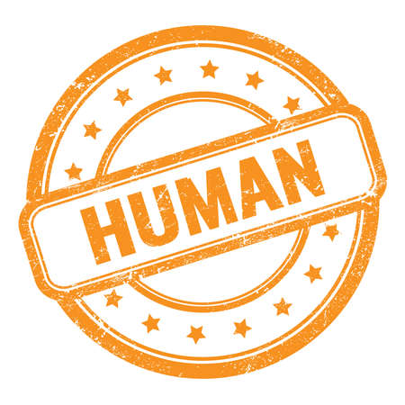 HUMAN text on orange grungy vintage round rubber stamp. Stock Photo