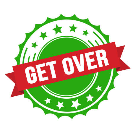 GET OVER text on red green ribbon badge stamp.
