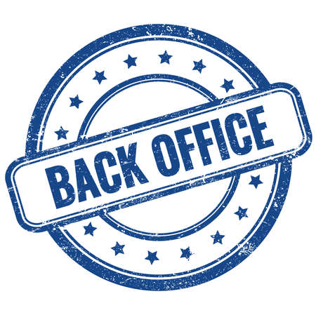 BACK OFFICE text on blue vintage grungy round rubber stamp. Stock Photo