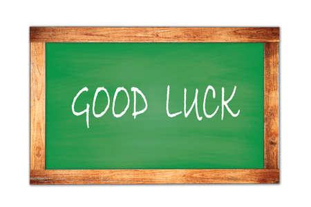GOOD  LUCK text written on green wooden frame school blackboard. Stock Photo