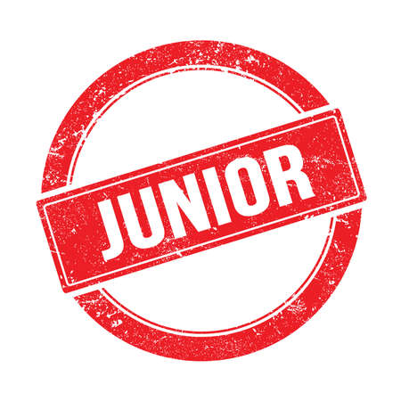 JUNIOR text on red grungy round vintage stamp. Stock Photo
