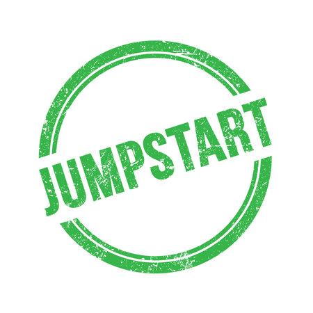 JUMPSTART text written on green grungy vintage round stamp.
