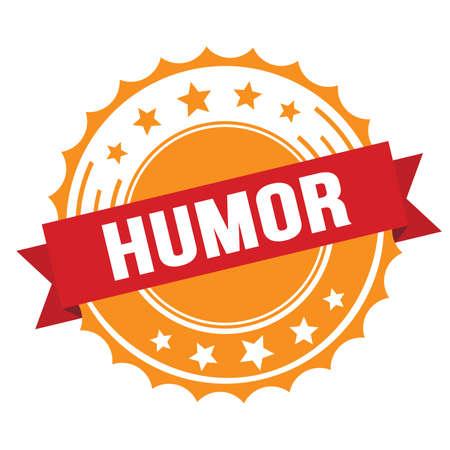 HUMOR text on red orange ribbon badge stamp.