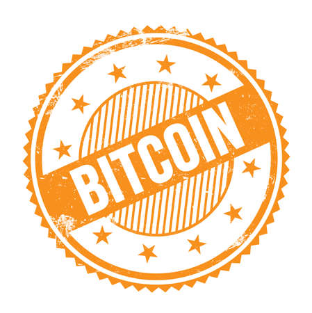 BITCOIN text written on orange grungy zig zag borders round stamp.