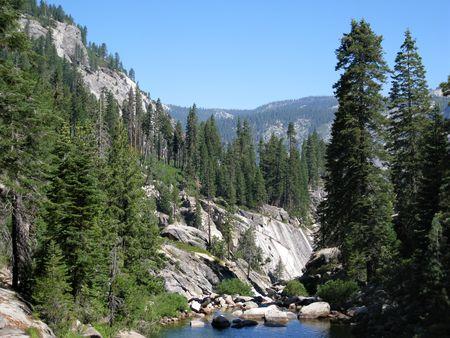 pine creek: Illouette Creek off the Panorama Trail and its surrounding mountain view. Yosemite National Park, California, USA Stock Photo