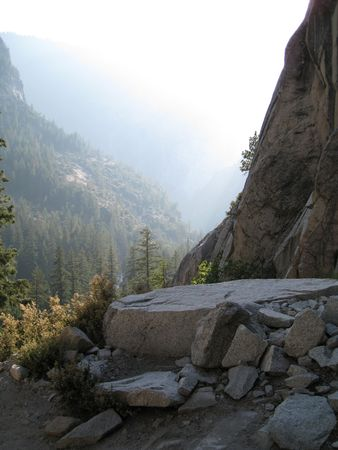 Descending the valley floor through the Mist Trail in Yosemite National Park, California, USA photo