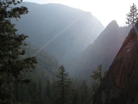 The sun is setting on The Mist Trail. Yosemite National Park, California, USA photo
