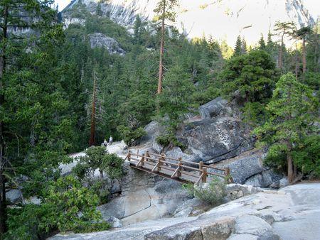 Hiker�s bridge on the Mist Trail. Yosemite National Park, California, USA photo