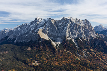 zugspitze mountain: West face of the highest mountain of Germany Mt. Zugspitze.