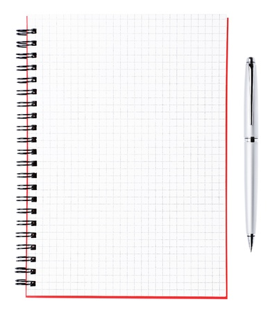 Silver pen and blank page of a notebook with black binder and red cover , horizontal