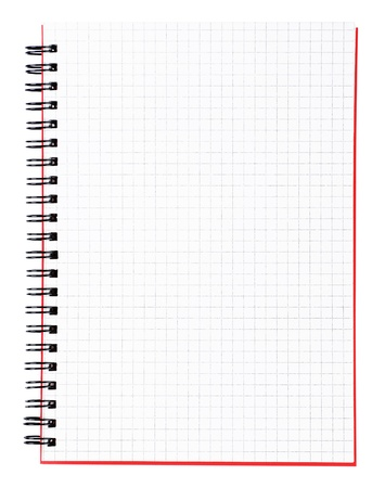 blank page: Blank page of a notebook with black binder and red cover, vertical