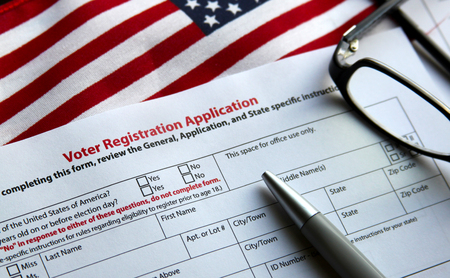 election commission: Voter registration form with flag of United States of America